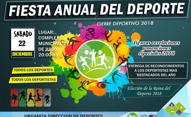 """""""FIESTA ANUAL DEL DEPORTE""""  2018 ,   EL SABADO 22 EN EL COMPLEJO MUNICIPAL"""